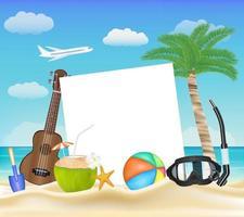 paper ball glasses diving mask ukulele on beach vector
