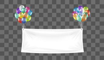 white vinyl banner floating with colorful balloon vector