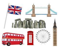landmark and icon of united kingdom england vector