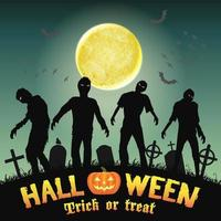 silueta de halloween zombie en un cementerio nocturno vector