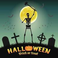halloween skeleton warriors in a night graveyard vector