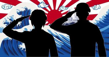silhouette japan soldier with wave rising sun flag vector