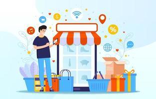 Untact Shopping Concept vector