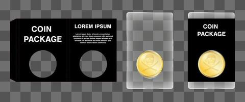 acrylic coin packaging with die cut paper block design vector