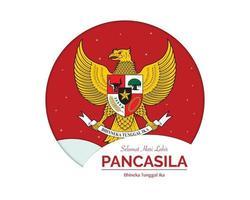 Happy Pancasila Day Greeting Card vector