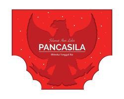 Happy Pancasila Day Papercut Style vector