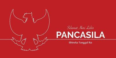 Happy Pancasila Day Garuda Line Vector