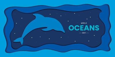 World Oceans Day Papercut Style vector
