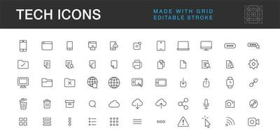 Technology icons pack, communication mobile computer internet symbol and logos collection vector