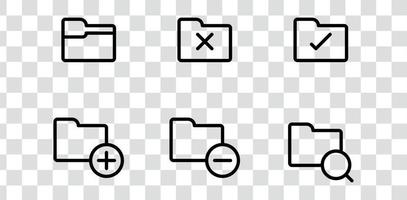 Folder icons pack, search, file, verify, error computer vector symbols isolated on transparent background