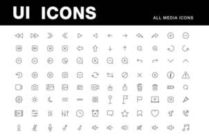 UI icons media player vector set all essential icons play arrows, pause, volume, recorder, computer, gallelry