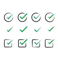 check mark tick, green verify icons set collection vector pack