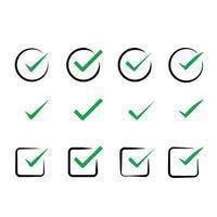 marca de verificación tick, verde verificar iconos conjunto colección vector paquete