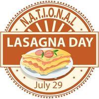National Lasagna Day Sign vector