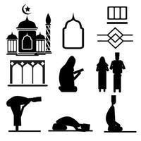 conjunto de adornos islámicos vector