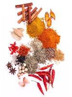 Assorted of spices isolated on white background photo