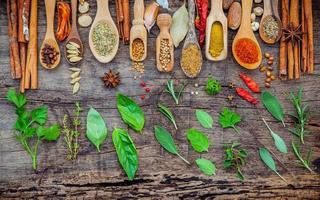 Flat lay of spices ingredients on shabby wooden background photo