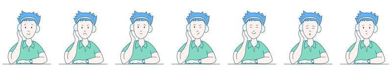 Man with headphone set vector