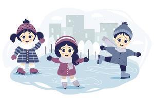 Happy kids ice skating vector