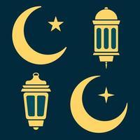 Ramadan lantern, moon and stars in black and white. vector