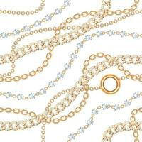 Seamless pattern background with gemstones and chains golden metallic necklace. On white. Vector illustration