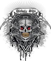 Signo gótico con calavera y pentagrama, diseño vintage grunge vector