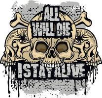 Signo gótico con calavera, diseño vintage grunge vector