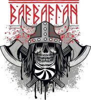 Signo de vikingos con hachas de calavera, diseño vintage grunge vector
