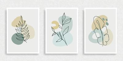 Abstract plant art poster vector set