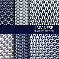 Conjunto de patrones sin fisuras japoneses tradicionales en color índigo vector