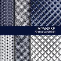 Set of Traditional Japanese seamless pattern in indigo color vector