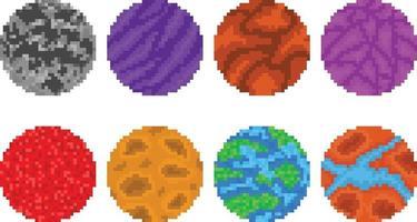 Set of pixel art planets vector