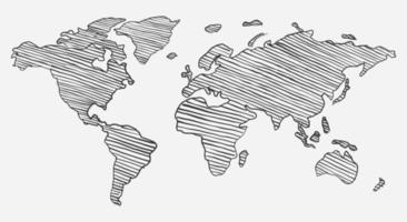 bosquejo del garabato del mapa del mundo vector