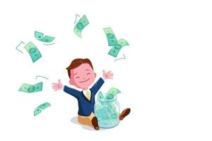 Young Boy Saves Money in Glass Jar. little Businessman under dollar rain with copy space. Financial education concept. Copy space background. Profit strategy vector illustration. Investment Winning.