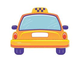 Taxi cab back view Flat banner template on white background. Empty space for number. Yellow auto car vector illustration. Isolated transportation service sign. Rearview concept