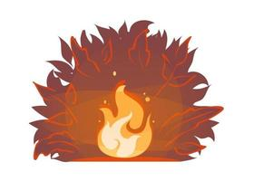 Incendio forestal rojo sobre fondo de silueta de arbusto de noche. Ilustración de los incendios forestales de verano. icono de fogata. vector de hoguera ardiente. Llamas de leña, pegatina de dibujos animados de chimenea quemada. llama brillante con chispas