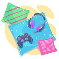 Video game background with joypad, headphones. Concept of social geek, hobby, pastime, devices addiction, using gadgets. Cozy gaming home with pillows Flat style. Vector illustration isolated on white