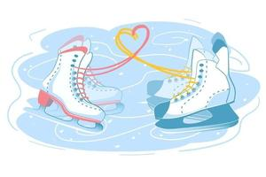 Male and female skates together, couple on the ice rink. Two different ice skate boots with love heart sign made of shoelaces. Romantic winter holiday postcard illustration. Isolated white background vector