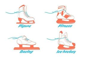 set of different ice skates - figure, fitness, Racing, hockey. Type of ice skate boots. Winter sport equipment logo in vintage colors. Vector Illustration isolated on white background.