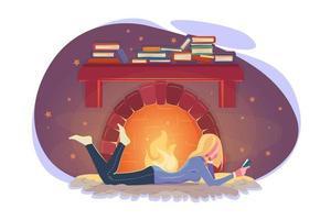 niña lee un libro en invierno junto a la chimenea. Ilustración de clima frío. concepto de educación moderna. acogedor diseño moderno de invierno. mujer joven estudiando junto a la chimenea en estilo plano. relajarse por la noche aislado en blanco. vector