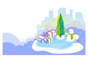New year and Christmas outdoor scene. Winter cityscape background with snowman and christmas tree, giftbox on ice rink. Cold season holydays card. Isometric view, Vector lending page illustration.