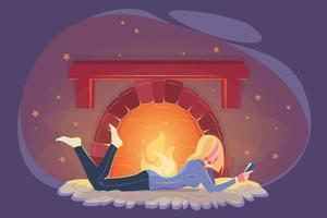 niña lee un libro en invierno junto a la chimenea. Ilustración de clima frío. concepto de educación moderna. acogedor diseño moderno de invierno. mujer joven estudiando junto a la chimenea en estilo plano. relax, velada acogedora, comodidad en el hogar vector