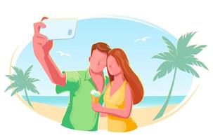 Beach couple selfie flat vector isolated illustration. Holiday, vacation, honeymoon, tourism concept. Summer Travel banner. Friends outdoor lifestyle modern design. Tropical sea on white background.