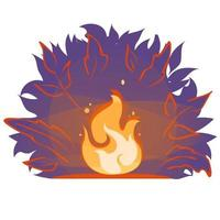 Campfire Vector flat cartoon illustration. Fire flame in forest at night. Bonfire Light banner sticker isolated on white background. Summer fireplace evening silhouette icon. Wildfire sign emblem.