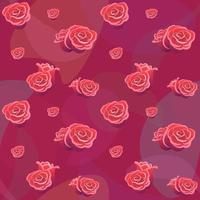 Roses buds seamless pattern on red backdrop. Flower background for wallpaper fabric card cover. Romantic symbol decoration valentines day. Flat vector package template. Love wedding concept background
