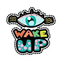Eye with lettering dash line sticker vector