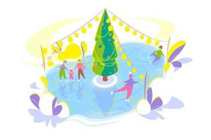 Ice skating people on Ice rink with Christmas tree. Snowy winter holidays concept. Seasonal Flat template on white background. Christmas holiday card. Isolated vector illustration on white background.