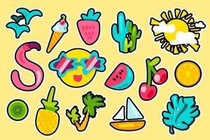 conjunto de pegatinas de vector de color de verano tropical