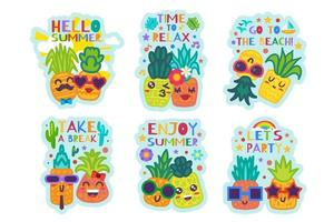 Nice Hello Summer Cute Pineapples Stickers Set vector