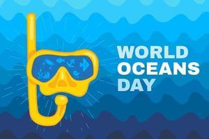fondo de plantilla de cartel o tarjeta del día mundial del océano vector